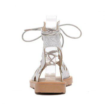 Hollow Out Studded Tie Up Sandals - SILVER 40