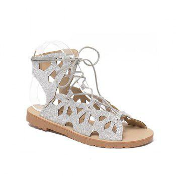 Hollow Out Studded Tie Up Sandals - SILVER 37