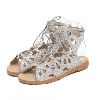 Hollow Out Studded Tie Up Sandals - 37 37