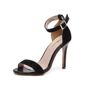 Mini Heel Ankle Strap Flock Sandals - BLACK 37