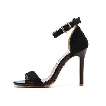 Mini Heel Ankle Strap Flock Sandals - 37 37