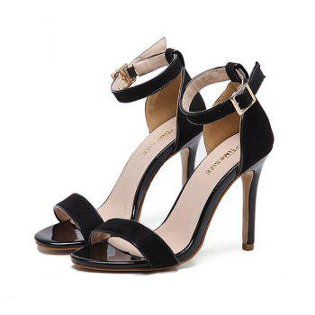 Mini Heel Ankle Strap Flock Sandals - 38 38