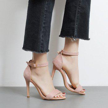 Mini Heel Ankle Strap Flock Sandals - 39 39