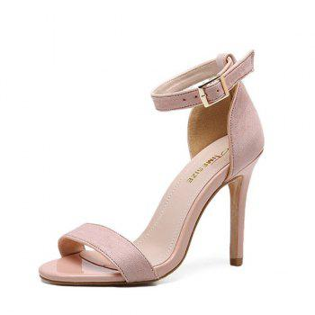 Mini Heel Ankle Strap Flock Sandals - PINK 39