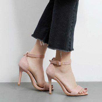 Mini Heel Ankle Strap Flock Sandals - PINK 37