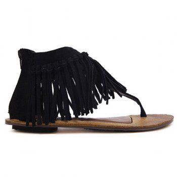 Zipper Knot Fringe Sandals - 37 37