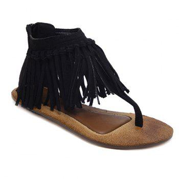 Zipper Knot Fringe Sandals - BLACK 37