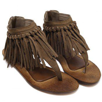 Zipper Knot Fringe Sandals - 39 39