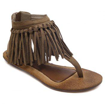 Zipper Knot Fringe Sandals - DARK KHAKI 39