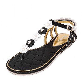 Faux Pearls Flowers Sandals - BLACK 37