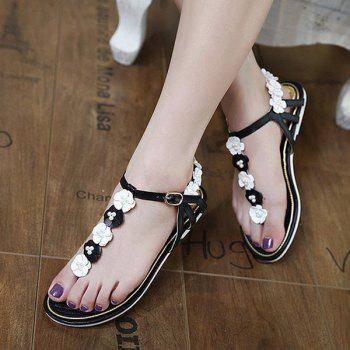 Faux Pearls Flowers Sandals - 37 37