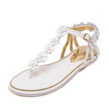 Faux Pearls Flowers Sandals - WHITE 37