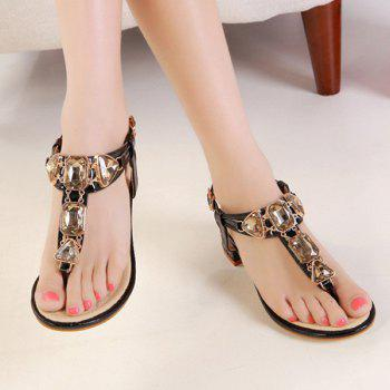 Rhinestones Block Heel Sandals - 37 37