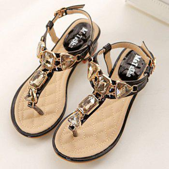 Rhinestones Block Heel Sandals