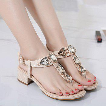 Rhinestones Block Heel Sandals - 38 38