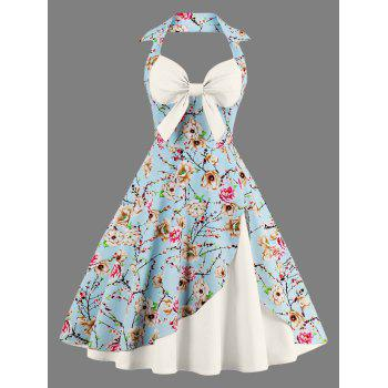 Halter Floral Print Pin Up Dress
