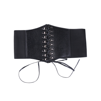 High Waist Corset Belt with Lace Up - BLACK BLACK