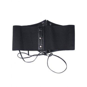 High Waist Corset Belt with Lace Up -  BLACK