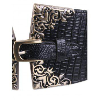 Pin Buckle Corset Belt with Metal Carve -  BLACK