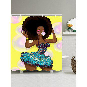 Fashion Girl Blow Bubbles Print Shower Curtain