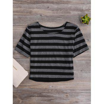 Short Sleeve Fitted Striped Crop Tee