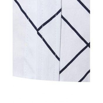 Turndown Collar Check Shirt - WHITE XL