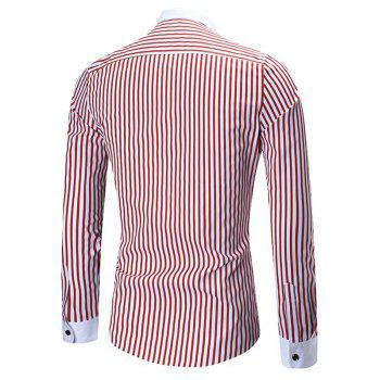 Button Down Vertical Stripe Shirt - RED 3XL