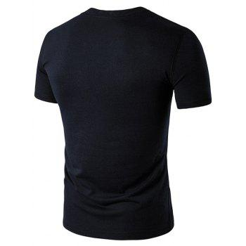 Grandad Collar Button Short Sleeve T-Shirt - BLACK XL