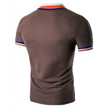 Color Block Turndown Collar Polo T-Shirt - COFFEE L
