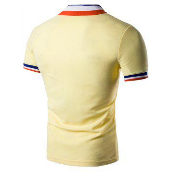 Color Block Turndown Collar Polo T-Shirt - LIGHT YELLOW L