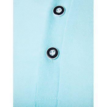 Color Block Turndown Collar Polo T-Shirt - LIGHT BLUE M