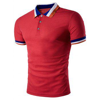 Color Block Turndown Collar Polo T-Shirt - RED RED