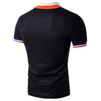 Color Block Turndown Collar Polo T-Shirt - BLACK BLACK