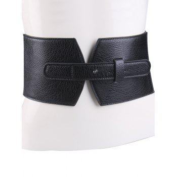 PU Panel Corset Belt with Cover Buckle - BLACK