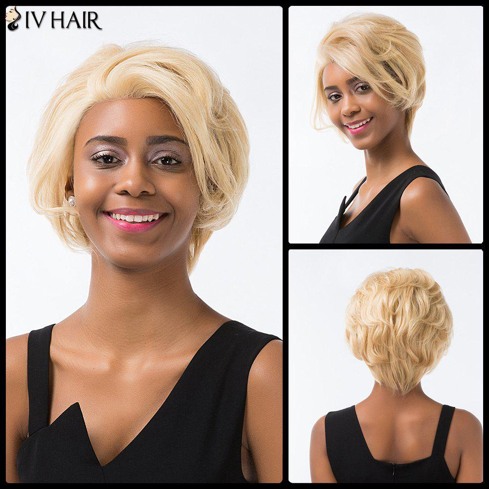 Siv Cheveux courts Layered Cut Fluffy Lace Front perruque de cheveux humains - / Brown d'Or avec Blonde