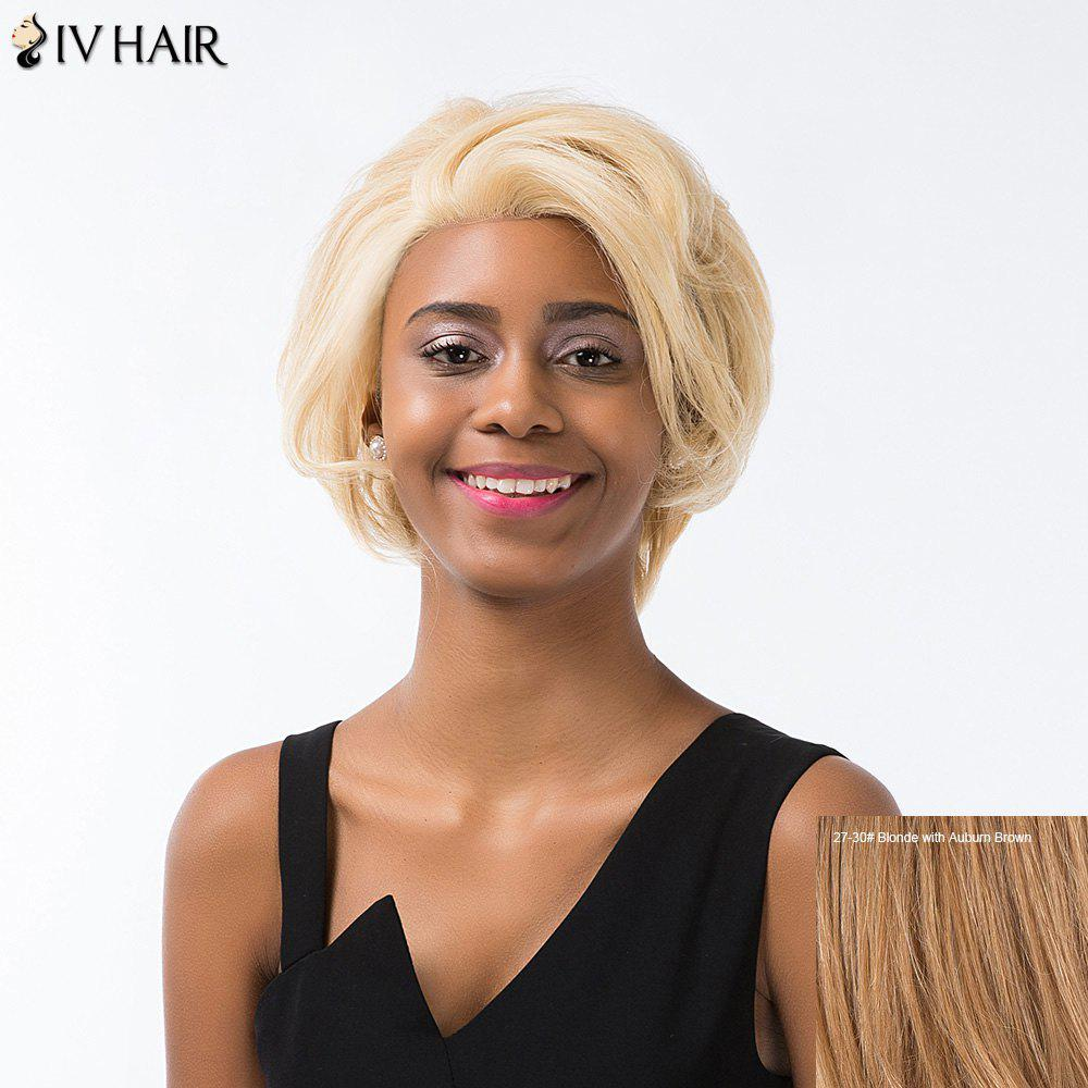 Siv Hair Short Layered Cut Fluffy Lace Front Human Hair Wig - BLONDE/AUBURN BROWN
