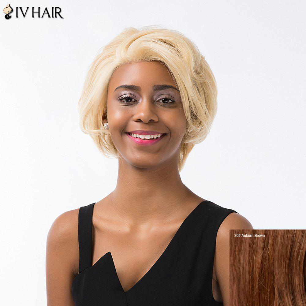 Siv Cheveux courts Layered Cut Fluffy Lace Front perruque de cheveux humains - Aubrun Brun