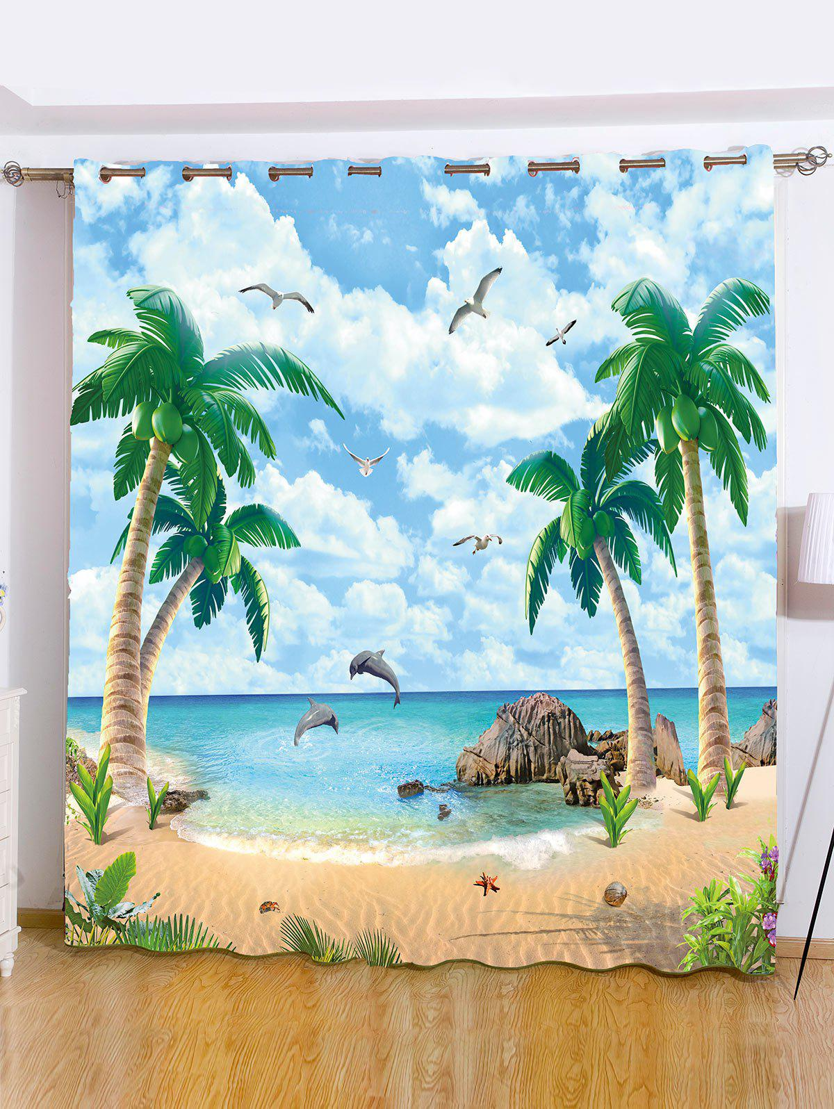 Beach Palm Tree Window Screening Blackout Curtain beach palm tree waterproof anti bacteria shower curtain