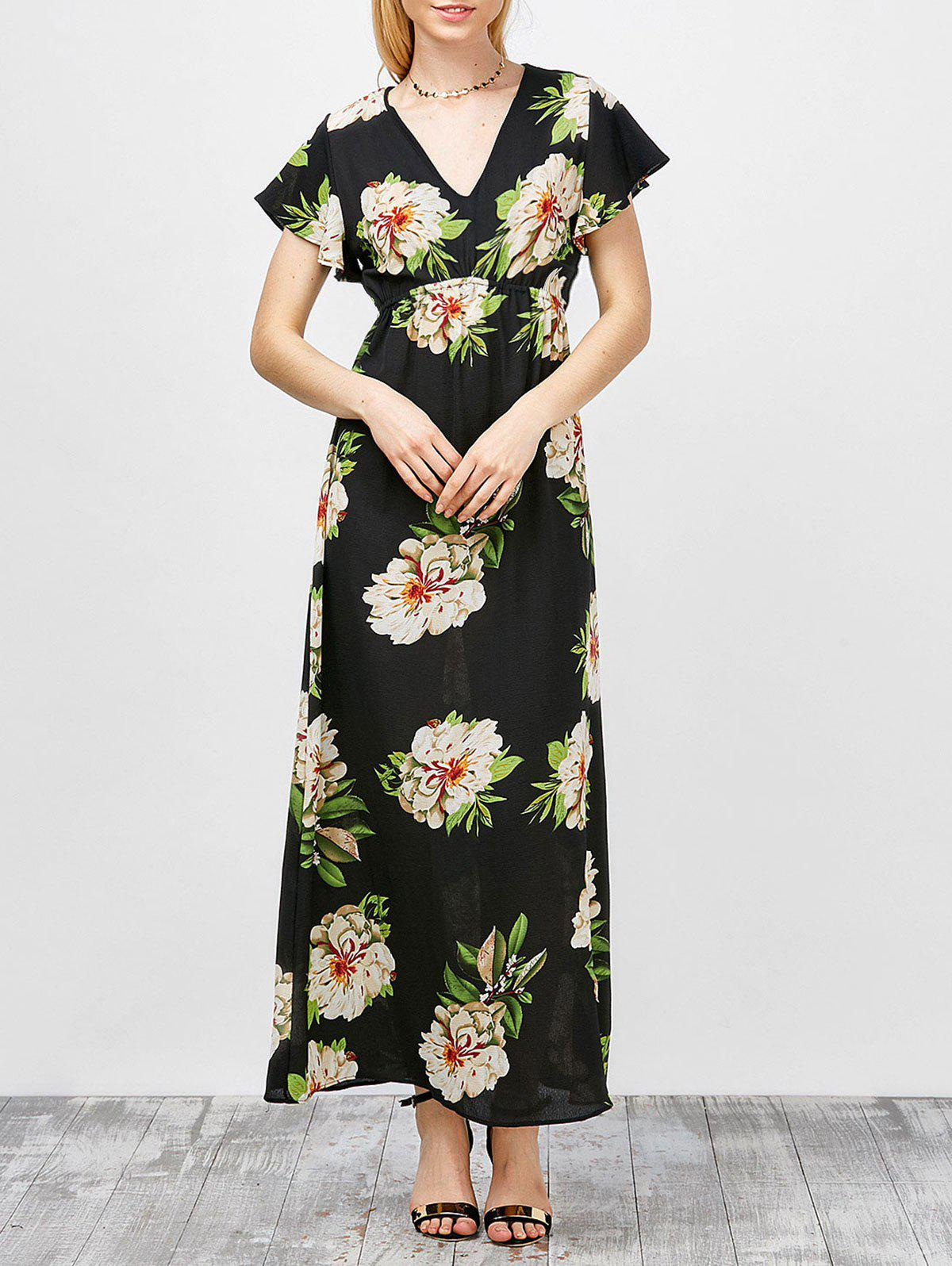 V-Neck Floral Maxi Dress - Noir S