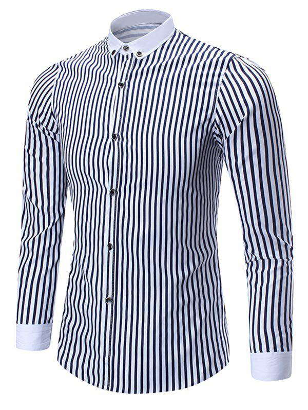 Button Down Vertical Stripe Shirt - BLUE 3XL