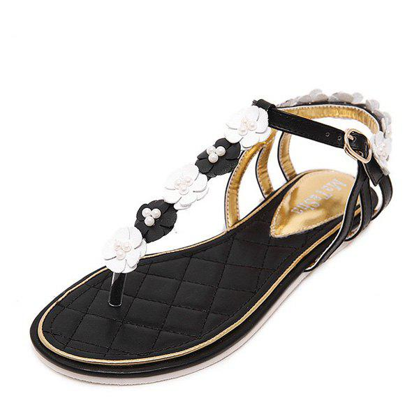 Faux Pearls Flowers Sandals - BLACK 38