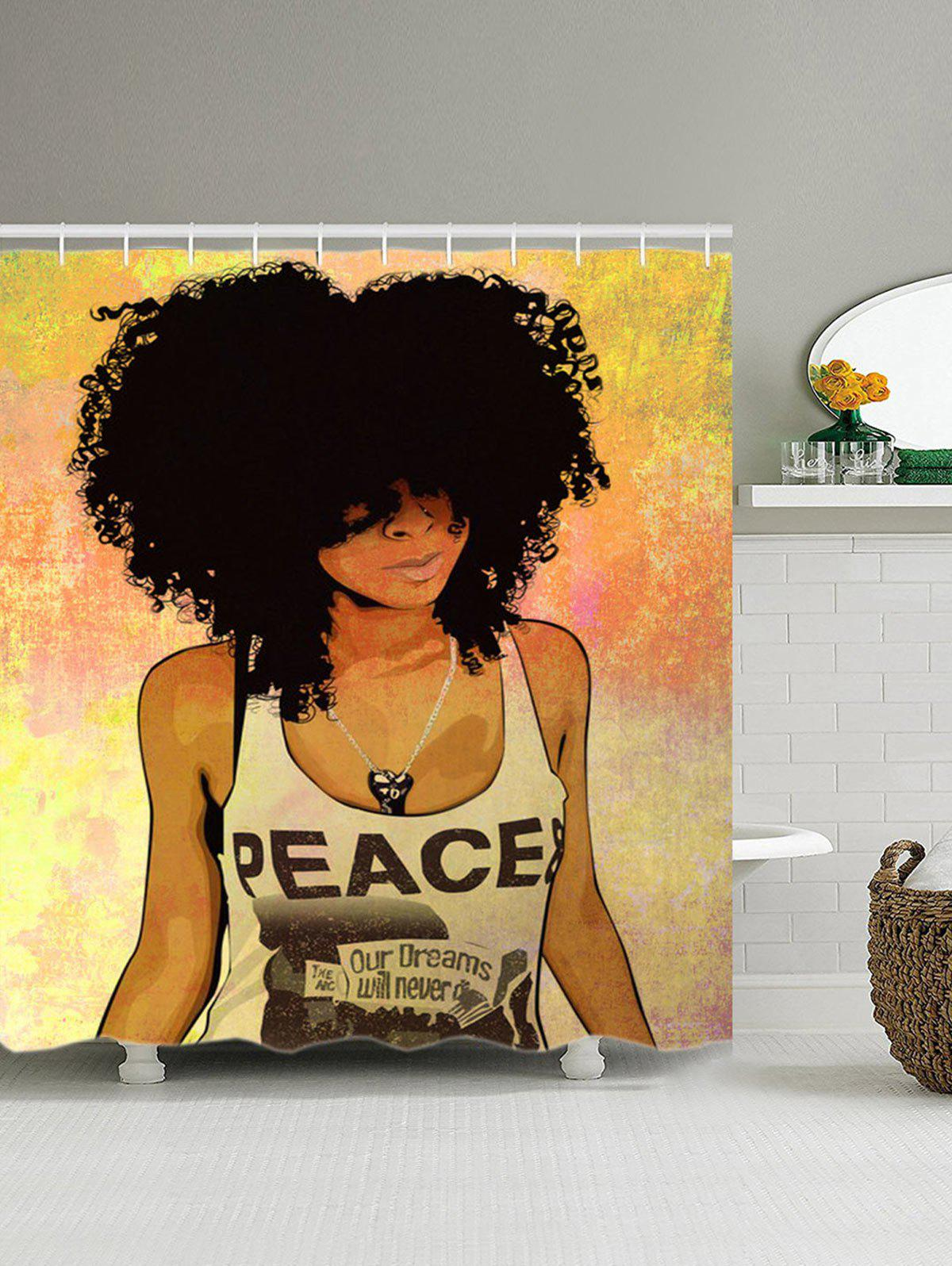 Hip Hop Afro Hair Girl Shower Curtain COLORMIX 2 CM In