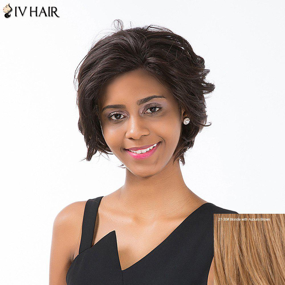 Siv Hair Short Layered Cut Curled Lace Front Human Hair Wig - BLONDE/AUBURN BROWN