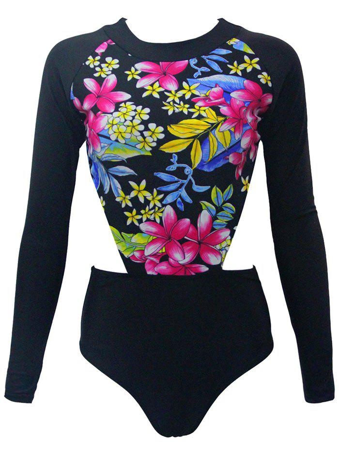 Long Sleeve Floral Print Cut Out One Piece Swimwear long sleeve floral print cut out one piece swimwear