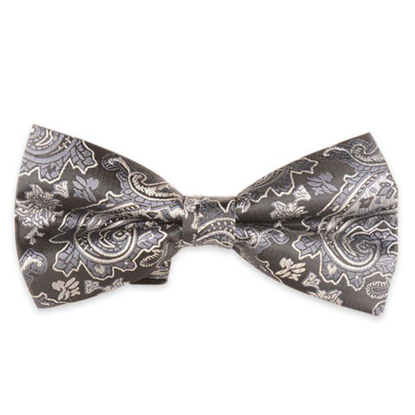 Floral Printed Jacquard Adjustable Bow Tie - LIGHT GRAY
