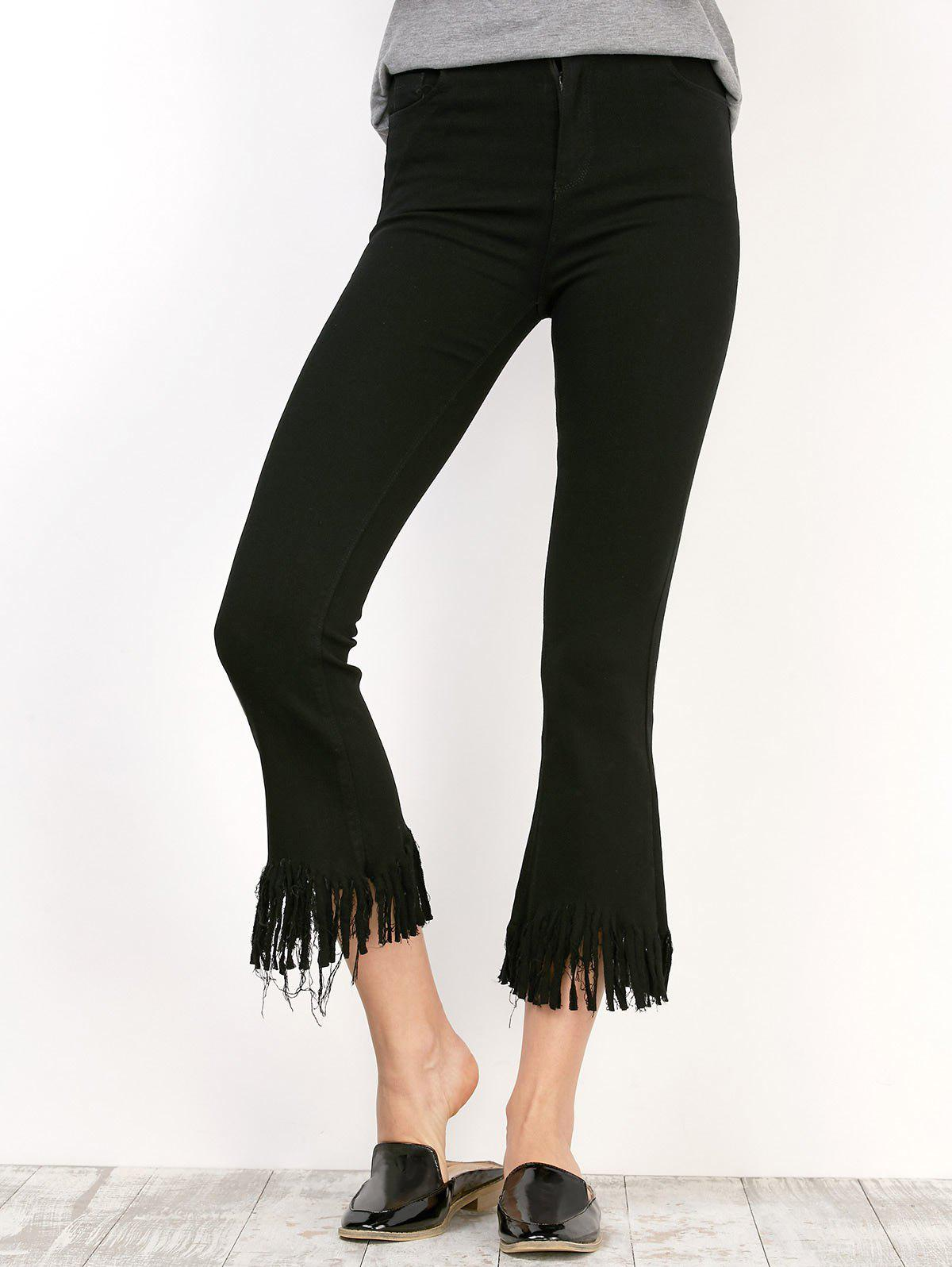 Fringe Cropped Frayed Bell Bottom Stretchy Pants - BLACK XL