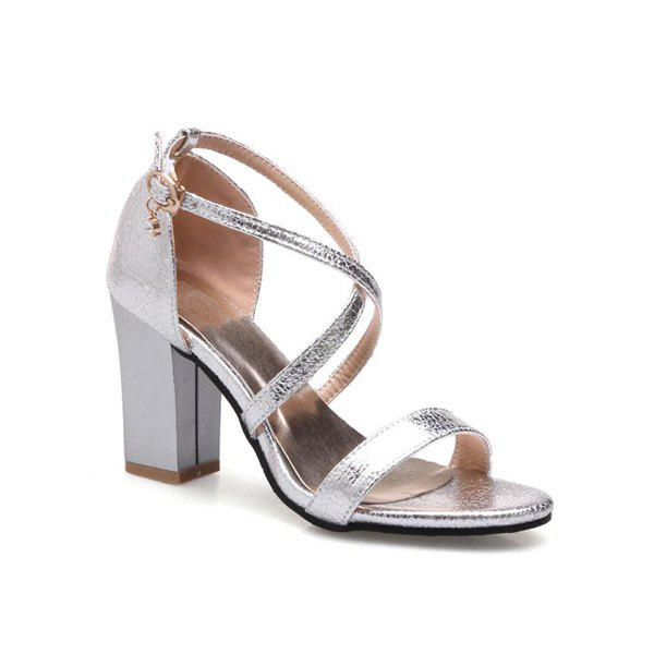 Block Heel Cross Strap Sandals - SILVER 39