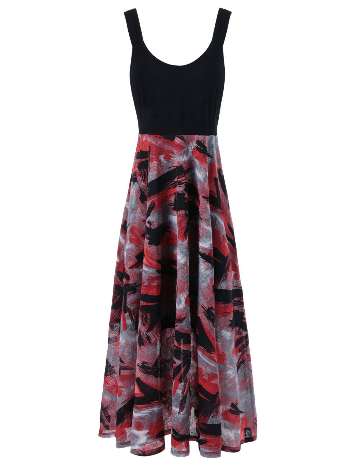 Plus Size Tie Dye Midi Casual Flower Dress - RED/BLACK 5XL