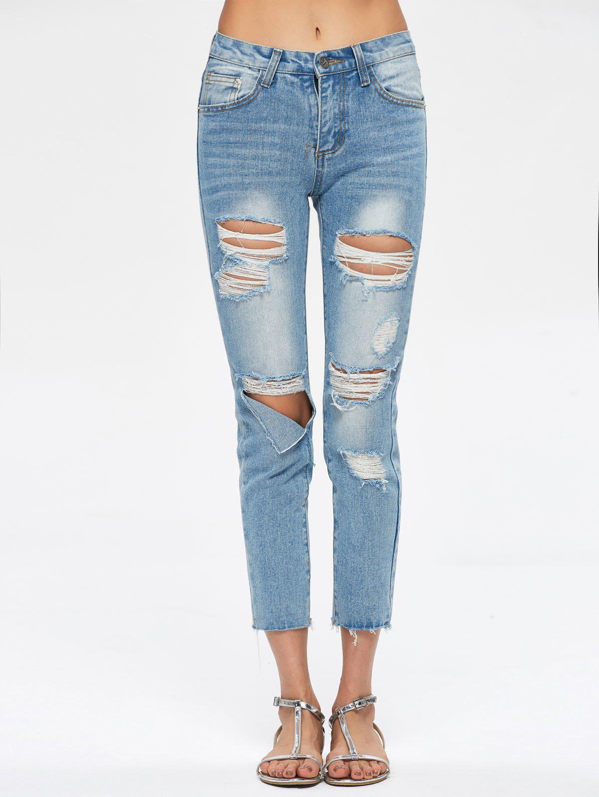 Cropped Destroyed Jeans - BLUE S