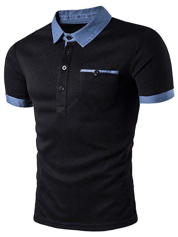 Pocket Denim Splicing Polo T-Shirt - BLACK M